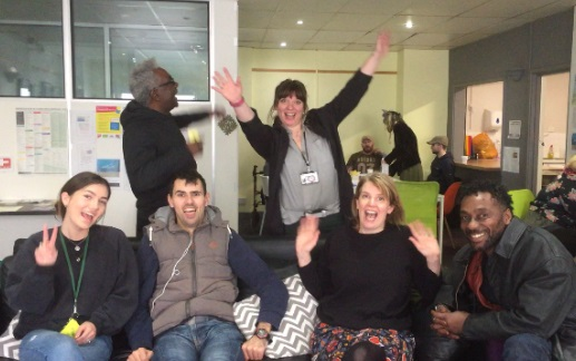 photo of Josie (Community Digital Champion), staff and service users at YMCA Evolve.