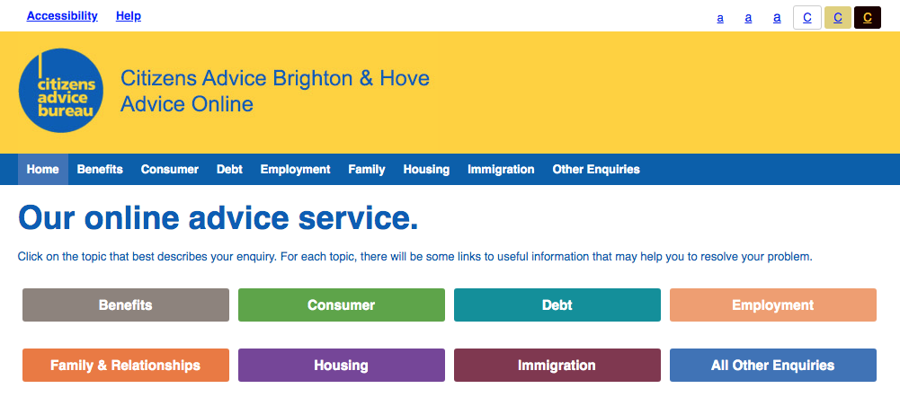 Homepage of the Citizens Advice Brighton and Hove Advice Online website