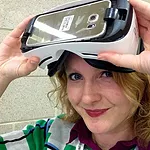 Catherine Allen of Limina Immersive, pictured with a VR headset